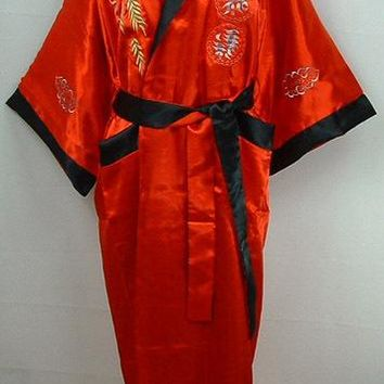 Red-Black Two-face Chinese Women's Robe Mujeres Pijama Reversible Silk Satin Kimono Embroidery Gown Dragon One Size S0004