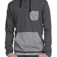 Brooklyn Cloth Black Grey Stripe Pullover Hooded Henley Sweatshirt