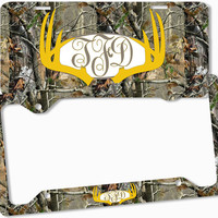 Yellow Brown Camo Antlers Monogram License Plate Frame Metal Car Tags Personalized