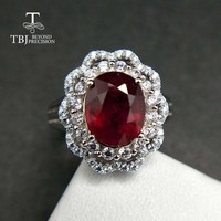 Exquisite Genuine Shiny Red Ruby  925 Sterling Silver Gemstone Ring