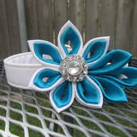 Dog Collar and Flower - READY TO SHIP White and Blue  Kanzashi Flower on White Dog Collar - Blue Wedding Collar, Something Blue