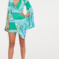 Turquoise Scarf Print Flared Sleeve Wrap Bodycon Dress