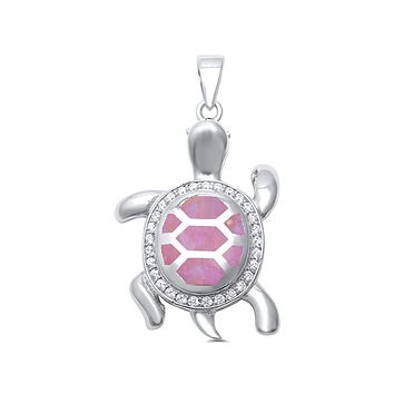 Sterling Silver Pink Created Opal and CZ Turtle Pendant