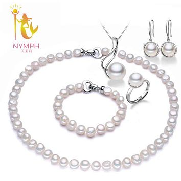 [NYMPH]Pearl Jewelry Sets For Women Natural Baroque Freshwater Pearl Necklace Bracelet Earrings Pendant Ring Wedding Party T077