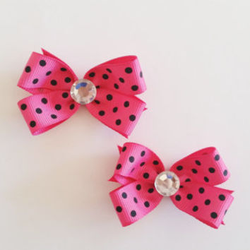 Hot Pink and Black Polka Dot Hairbows, Basic Mini Hair Bows, Set of 2 Pigtail Bows Toddler Hair Bows, Newborn Hair Bows