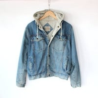 Vintage 80s Men's Denim Hoodie Jacket // Sporty Spring Cotton Jacket