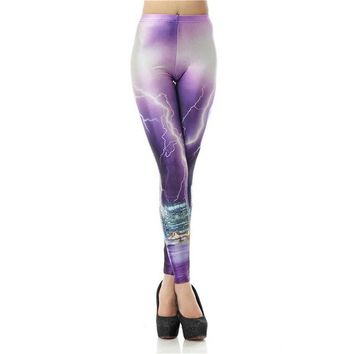 Purple Thunder and Lightning Print Leggings