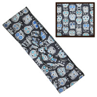 Grey Sugar Skull Fabric Head Wrap Scarf