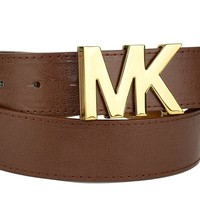 Michael Kors Womens Brown Luggage Belt Gold MK Logo Buckle Large