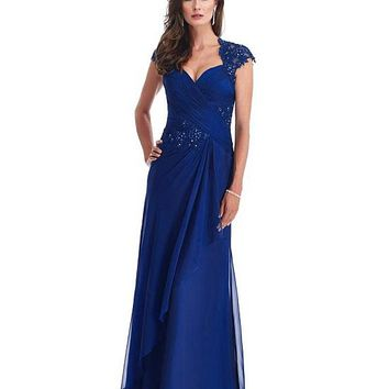[98.99] Gorgeous Silk Like Chiffon A-line Gown Floor-Length Mother Dress - dressilyme.com