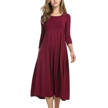 Laamei 2019 Summer Women Solid O-Neck Long Sleeve Ladies Loose Casual Party Large Size Dress Round Neck Midi Dress 3/4 Sleeve