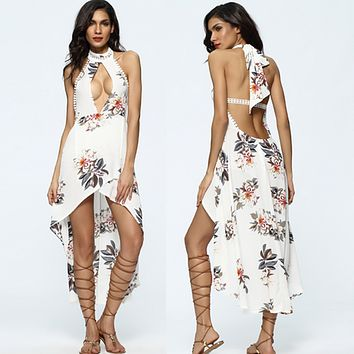 Fashion Backless Flower Print Hollow Halter Sleeveless Irregular Hem Maxi Dress