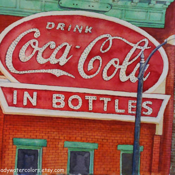 Coca Cola Building Watercolor Print. Coca Cola Painting. Coca Cola wall art. Coca Cola picture. Watercolor art. Coke painting. Coke bottle.