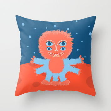 Focussian Furry Alien Throw Pillow by Boriana Giormova | Society6