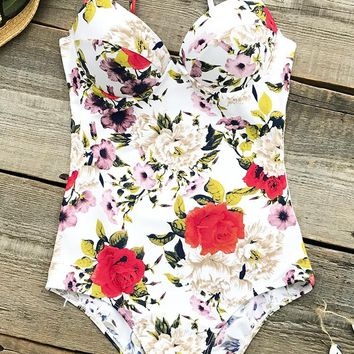 Cupshe Voice Of Flowers Print One-piece Swimsuit