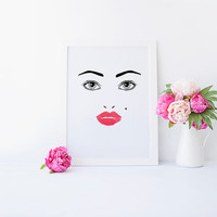 MAKEUP DIGITAL ART,Makeup Print,Wake Up And Make Up,Gift For Girlfriend,Eyeliner,Lash,Lip,Girl Room Decor,Bathroom Decor,Fashion Print,