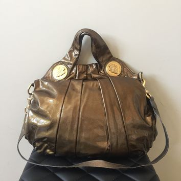 Gucci Patent Metallic Bronze Hysteria Shoulder Bag