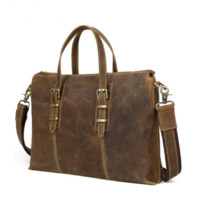 Handmade Leather Men Bag, Satchel Messenger Laptop Sleeve(C01)
