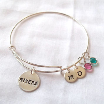 Alex and Ani Style Name Bracelet -- 6 Letters Maximum, Hand Stamped, Sterling Silver, Couples Bracelet, Mother's Bracelet -- MADE TO ORDER