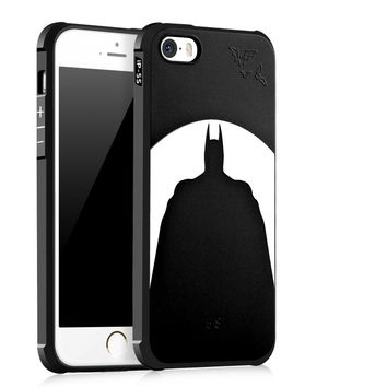 Luxury Brand phone case For Apple iPhone SE 5S 5 silicone Protective Batman cat bear Skull pattern back cover cases shell