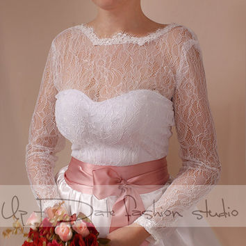 Wedding lace bolero solstiss Lace/ wedding jacket/ shrug/bridal lace top  deep-v in back