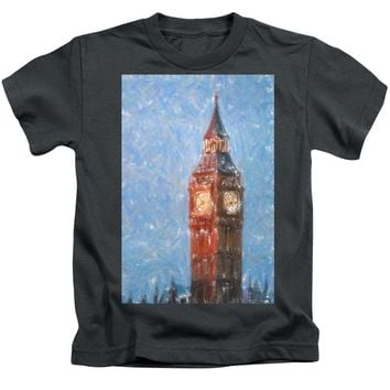 Pastel Painting Of Big Ben Tower In London - Kids T-Shirt