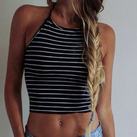 Sexy Women Crop Tops Summer Beachwear Bikini Bra Strap Tank Vest Tops High-Neck Halter Camis Camisole
