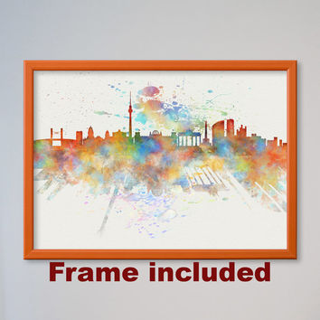Berlin Skyline Germany Watercolor Poster Wall Art Decor Fine Art Giclee Print Gift Home Decor Wall Hanging FRAMED