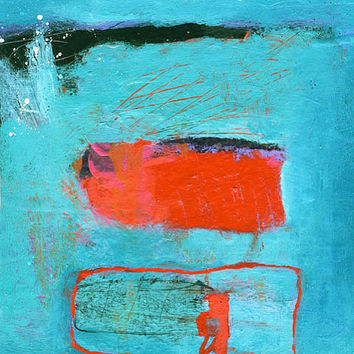 Modern Art Abstract Painting – Original Turquoise, Red and Black Acrylic Small 8x8 Painting