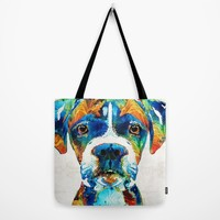 Colorful Boxer Dog Art By Sharon Cummings Tote Bag by Sharon Cummings
