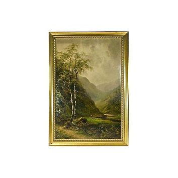 Pre-owned Antique S. Barnes Mountain Landscape Oil Painting