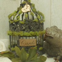 Rustic Moss Wedding/Birdcage/Cardholder by YesMoreFunk on Etsy