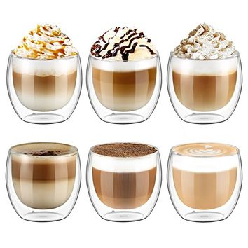 Ecooe 6x250ml/8.8oz Double Wall Cups Latte/Cappuccino/Tea Glass Cups