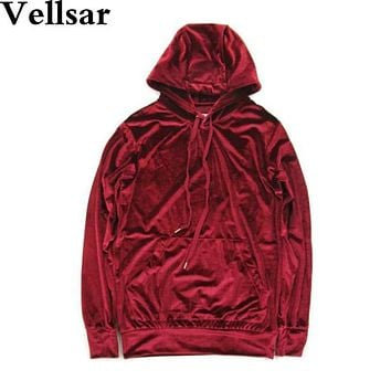 Vellsar Free shipping 2017 Men Women Hip Hop Velour Velvet Tracksuit Hoodie Pants Joggers Streetstyle colors