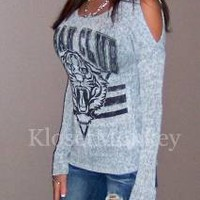 SEXY GRAY COLD SHOULDER CUT OUT TIGER URBAN KNIT SWEATER STRIPE TOP SMALL S