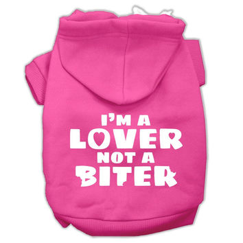 I'm a Lover not a Biter Screen Printed Dog Pet Hoodies Bright Pink Size Lg (14)