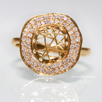 Diamond Sphere 18K Gold Ring
