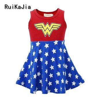 Kids Girls Tutu Dress Superhero Halloween Christmas Birthday Party Costume Wonder Woman Superman Dress