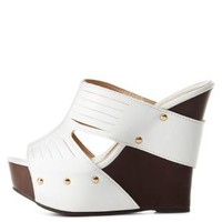 Laser-Slit Open Toe Mule Wedges by Charlotte Russe