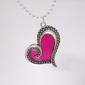 Heart (Faux Stained Glass) Necklace #2- gift, mom, sister, birthday, girlfriend, wedding, mother-in-law, stocking stuffer