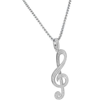 "14k White Gold Finish Treble Clef Musical Note Iced Out Charm Silver Pendant Free 24"" Necklace"