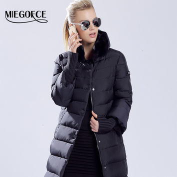 Winter Duck Down Jacket Long Coat Parkas Women's Rabbit Fur Collar High Quality