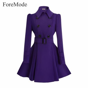 ForeMode  Winter Belt Buckle Mid-Long Trench Double-breasted Women Dress Long SleeveTrench Wool Coat