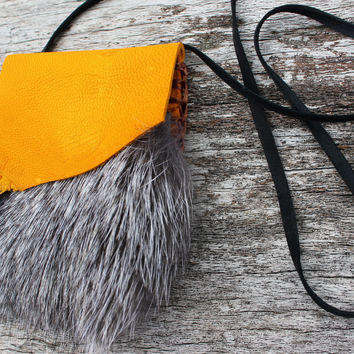 Golden Mustard Medicine Bag with Silver Fox Fur, Deer Leather Spiritual Necklace Pouch