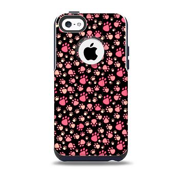 The Pink Paw Prints on Black Skin for the iPhone 5c OtterBox Commuter Case