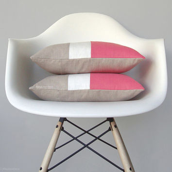 Strawberry Ice Colorblock Pillow Cover - Modern Color Block Pillows by JillianReneDecor - Spring Home Decor - Mid Century - Bright Pink