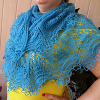 shawl knitted from wool,blue shawl,handmade shawl,shawl for autumn,winter,spring,shawl,lace shawl,shawl on order