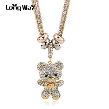 2016 New Design Necklace & Pendant Gold Silver Chain Long Necklace Crystal Bear Pendant Necklace For Women SNE140166