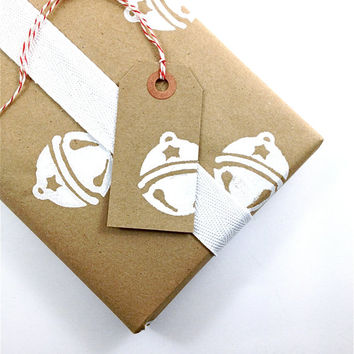 Wrapping Paper - Hand Printed Recycled Kraft Paper - Snow Covered Jingle Bells
