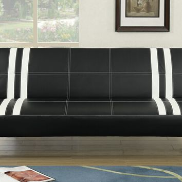 Nathaniel collection two tone black and white faux leather upholstered futon bed